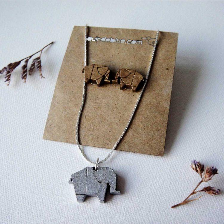 quindeblue-juego-aretes-collar-elefante-comprar