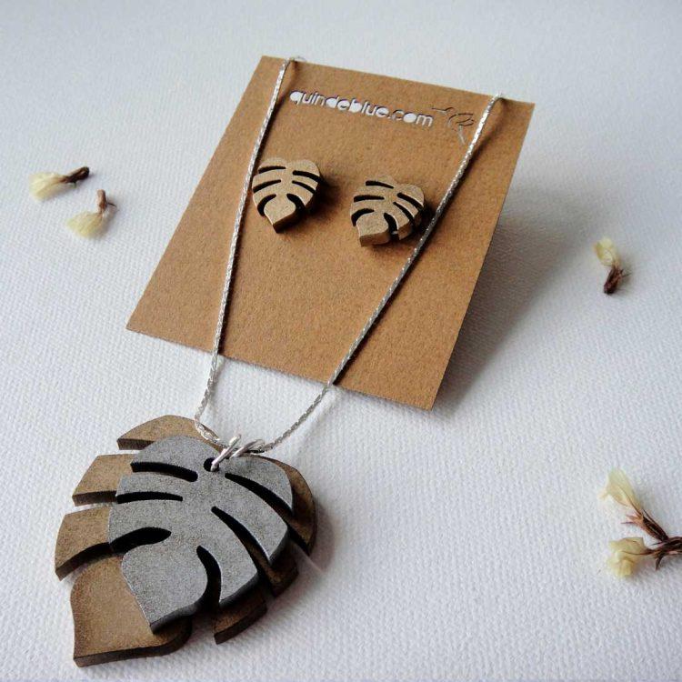 quindeblue-juego-aretes-collar-hojas-tropicales-comprar