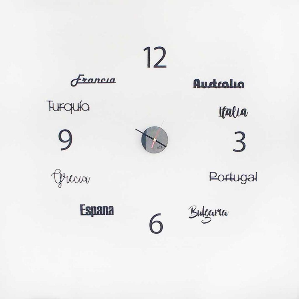 Reloj de pared países del mundo